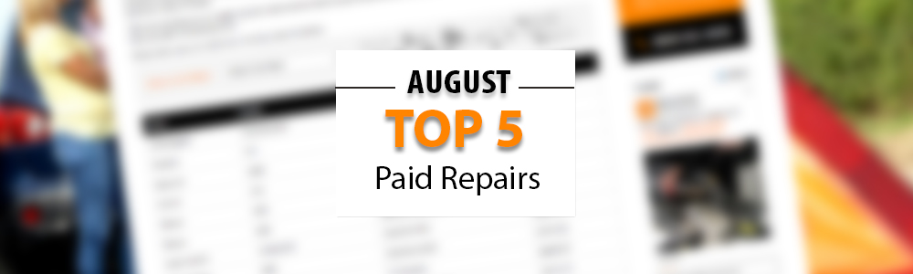 Top 5 Warrantywise Car Repair Bills Paid in August