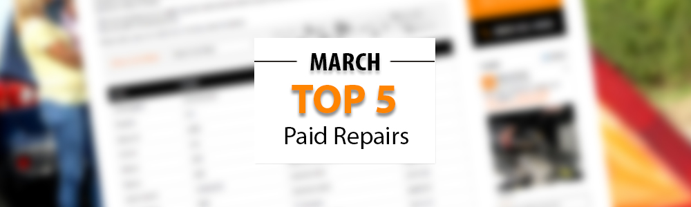 Top 5 Warrantywise Car Repair Bills Paid in March