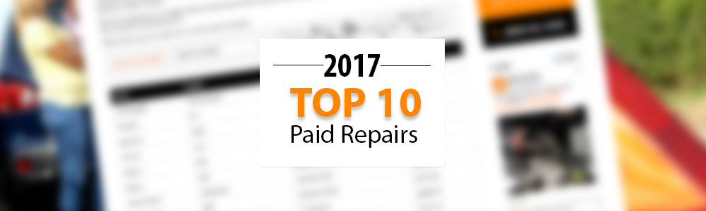 Top 10 Warrantywise Car Repair Bills Paid in 2016